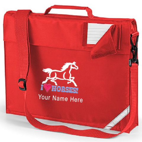 Personalised I LOVE HORSES School Book Bag